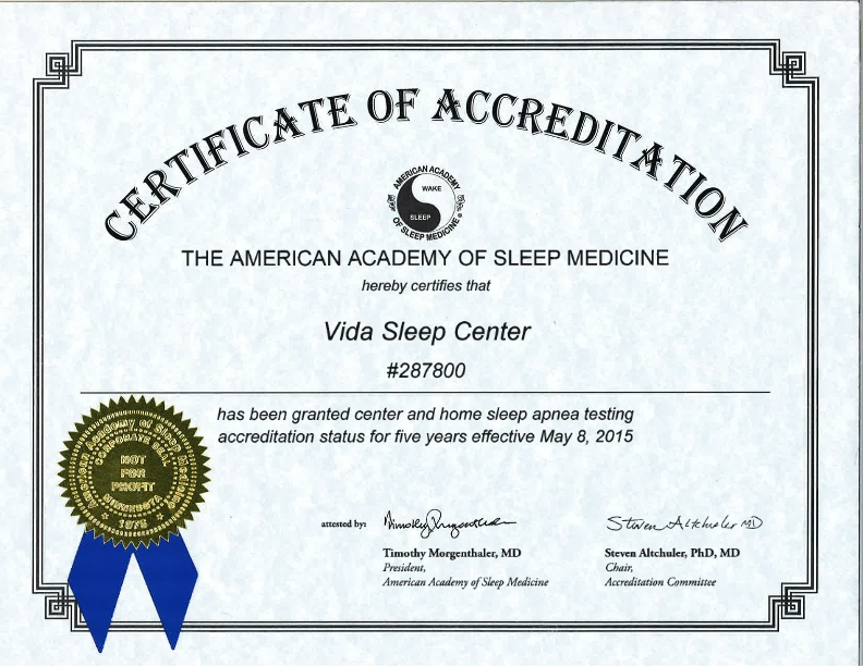 AASM Certificate of Accreditation 001